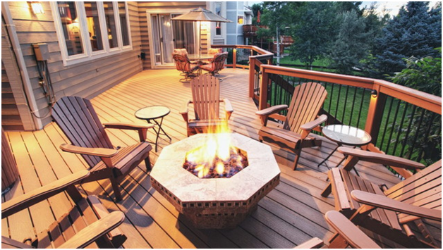 fire pit to your wood deck